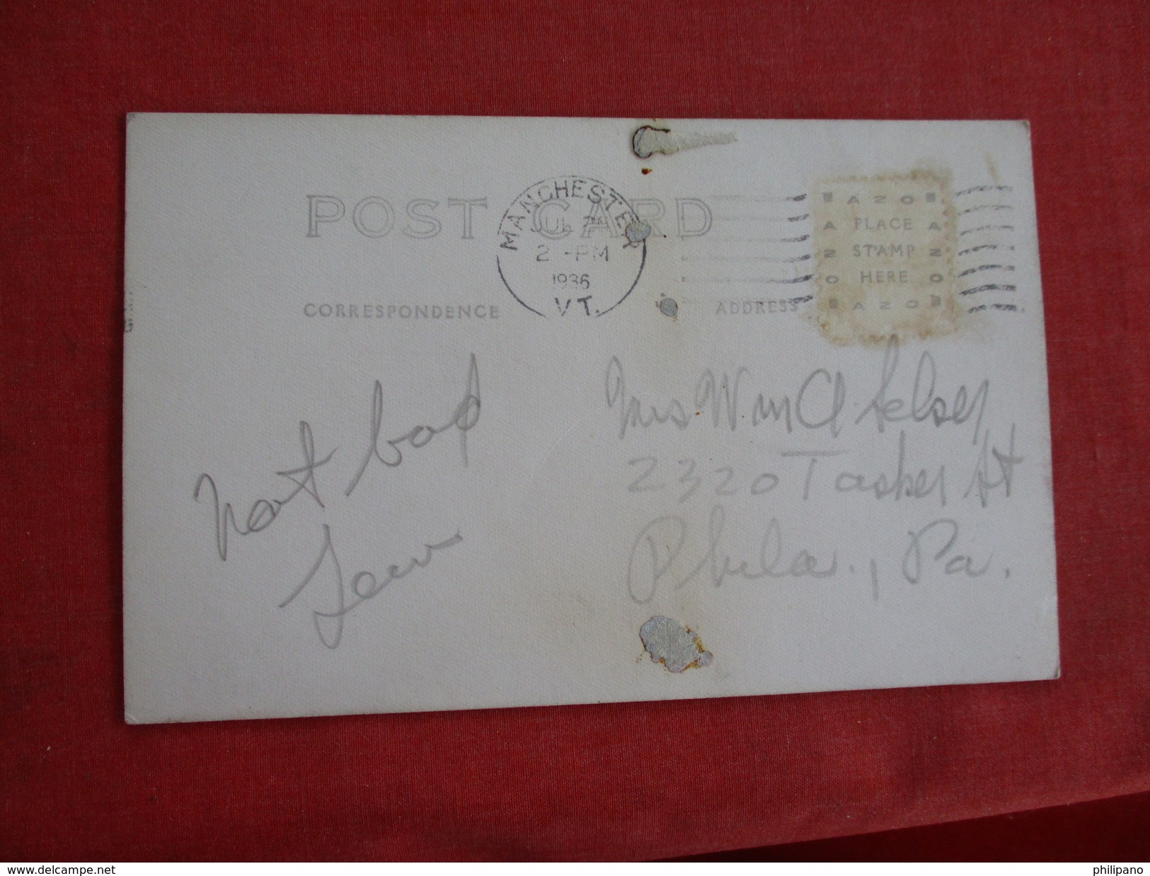 RPPC Mailed  From Manchester VT>  ----- Ref 2752 - United States