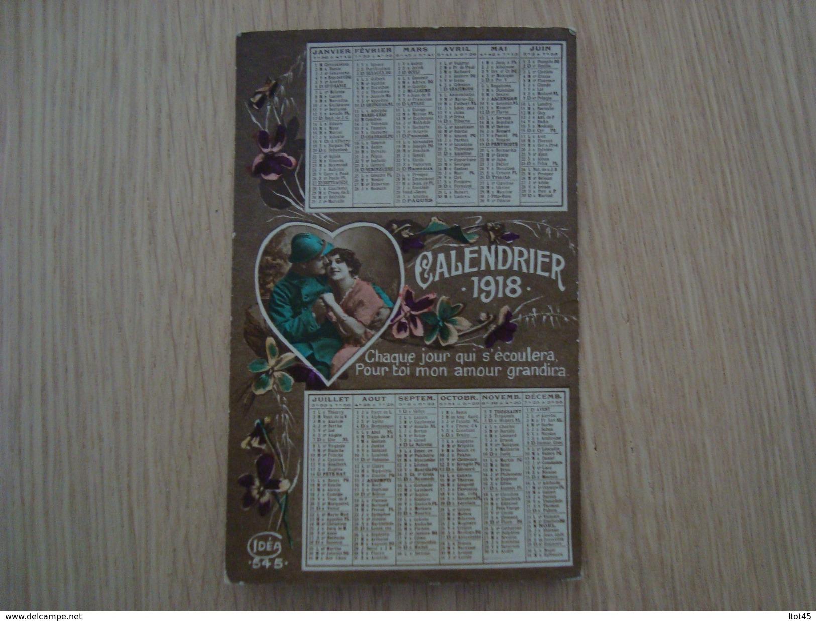 CPA CALENDRIER 1918 - Calendriers