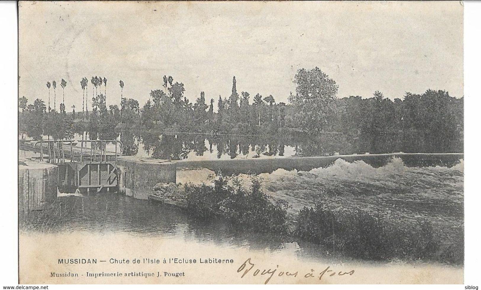 CPA - MUSSIDAN - Chute De L'Isle à L écluse Labiterrne - Mussidan
