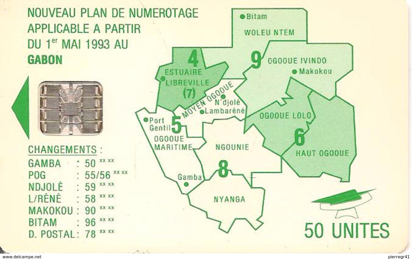 CARTE+PUCE-GABON-50U-SC7- CARTE-VERT -PLAN NUMEROTAGE-V° Sans N°-TBE - Gabon