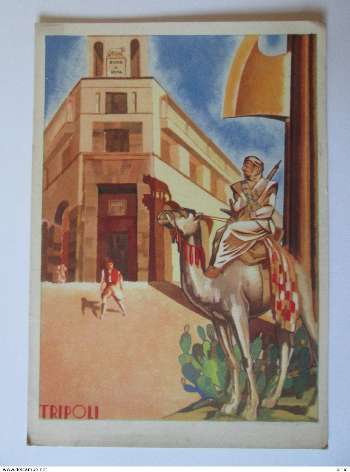 Rare! Lybia-Tripoli/Branch Of The Roma Bank,Italian Advertising Unused Postcard From The 30s - Libia