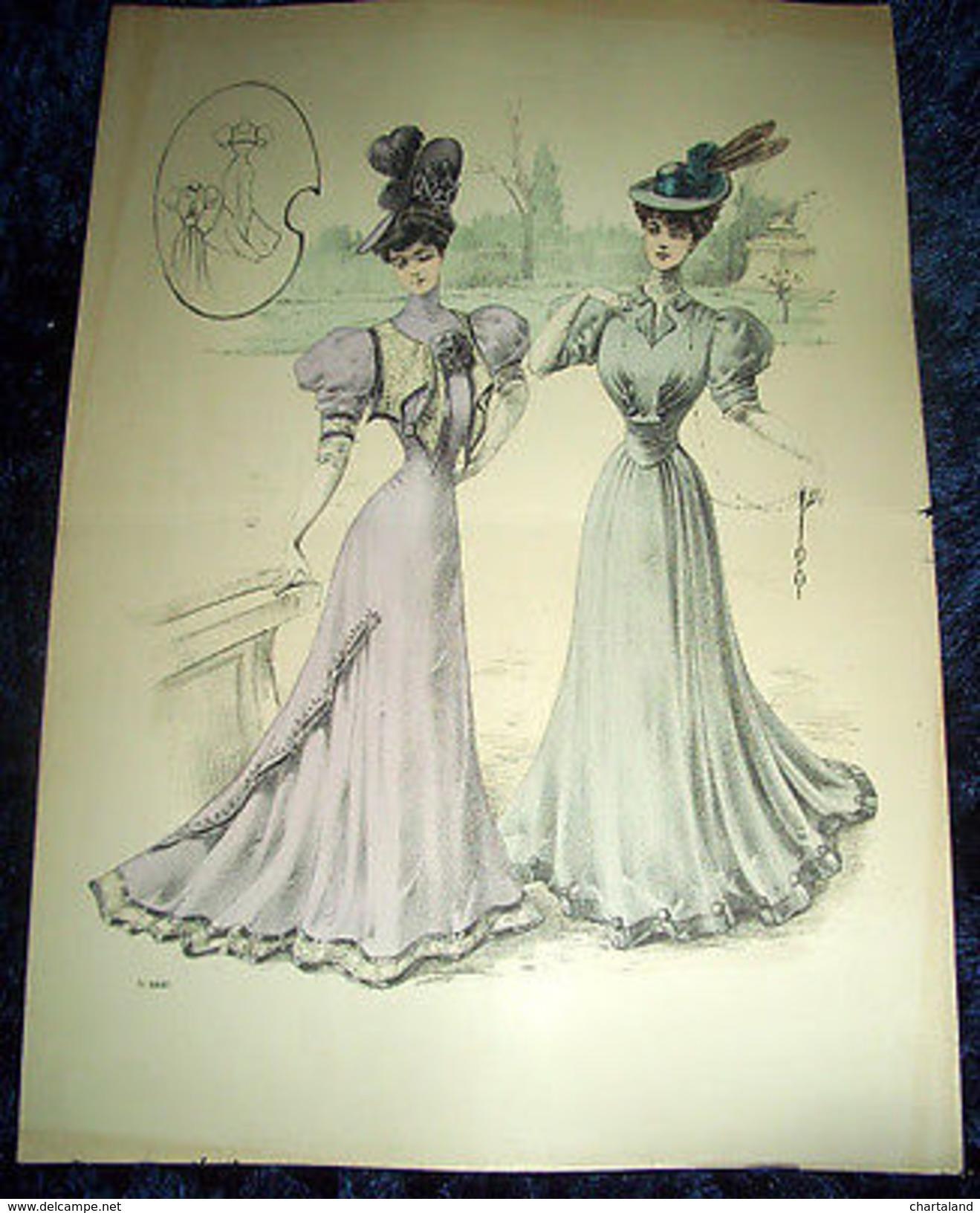 Stampa Litografia D' Epoca Originale - Moda Abiti Donna C74 - 1900 Ca - Stampe & Incisioni