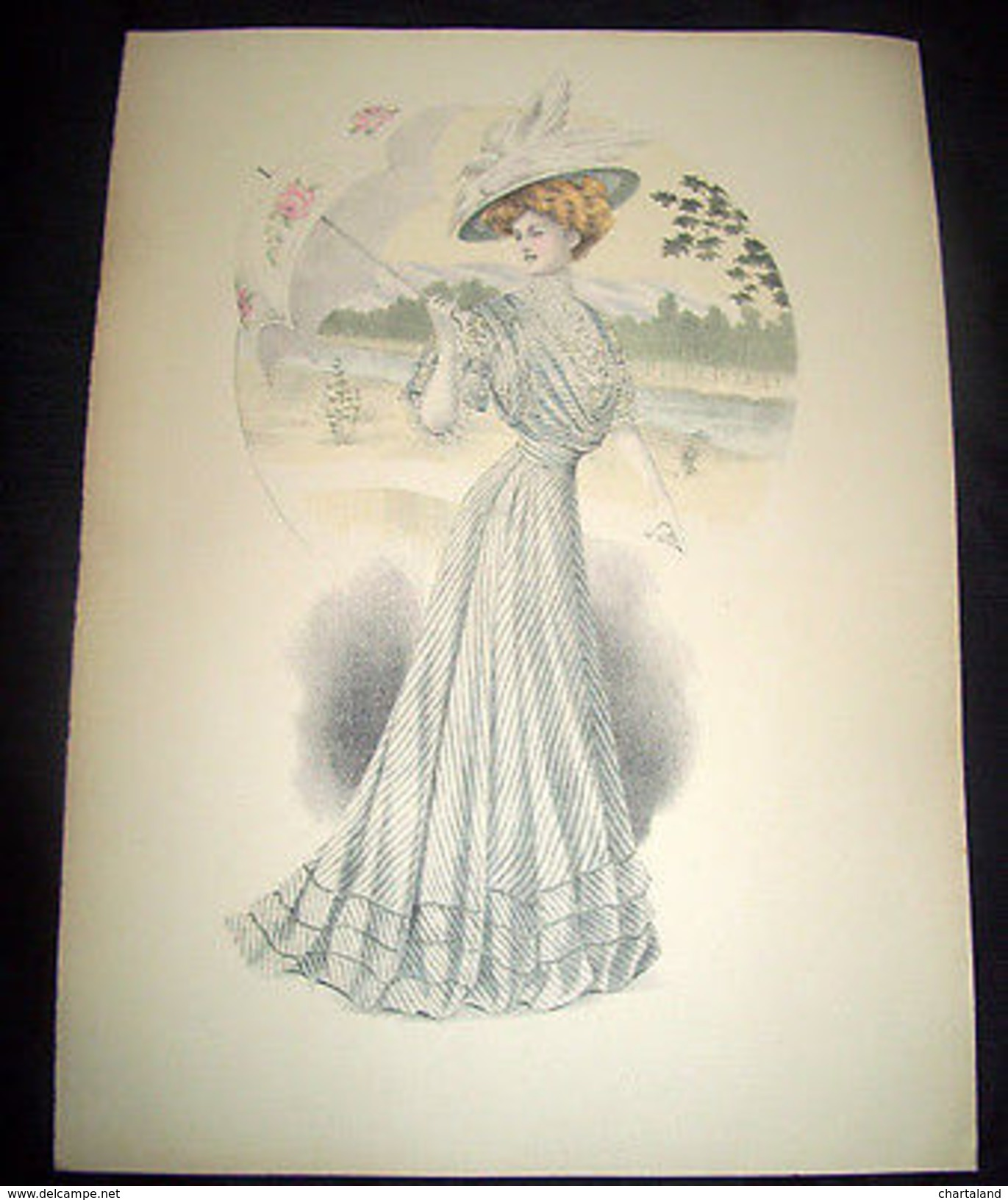 Stampa Litografia D' Epoca Originale - Moda Abiti Donna B04 - 1900 Ca - Stampe & Incisioni
