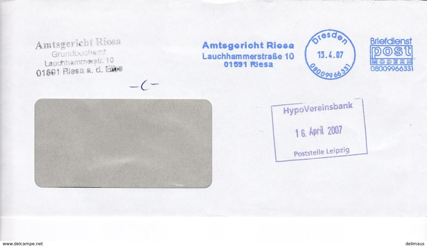 BRD Neue Privatpost 2007 Post Modern Dresden Amtsgericht Riesa - Private & Local Mails