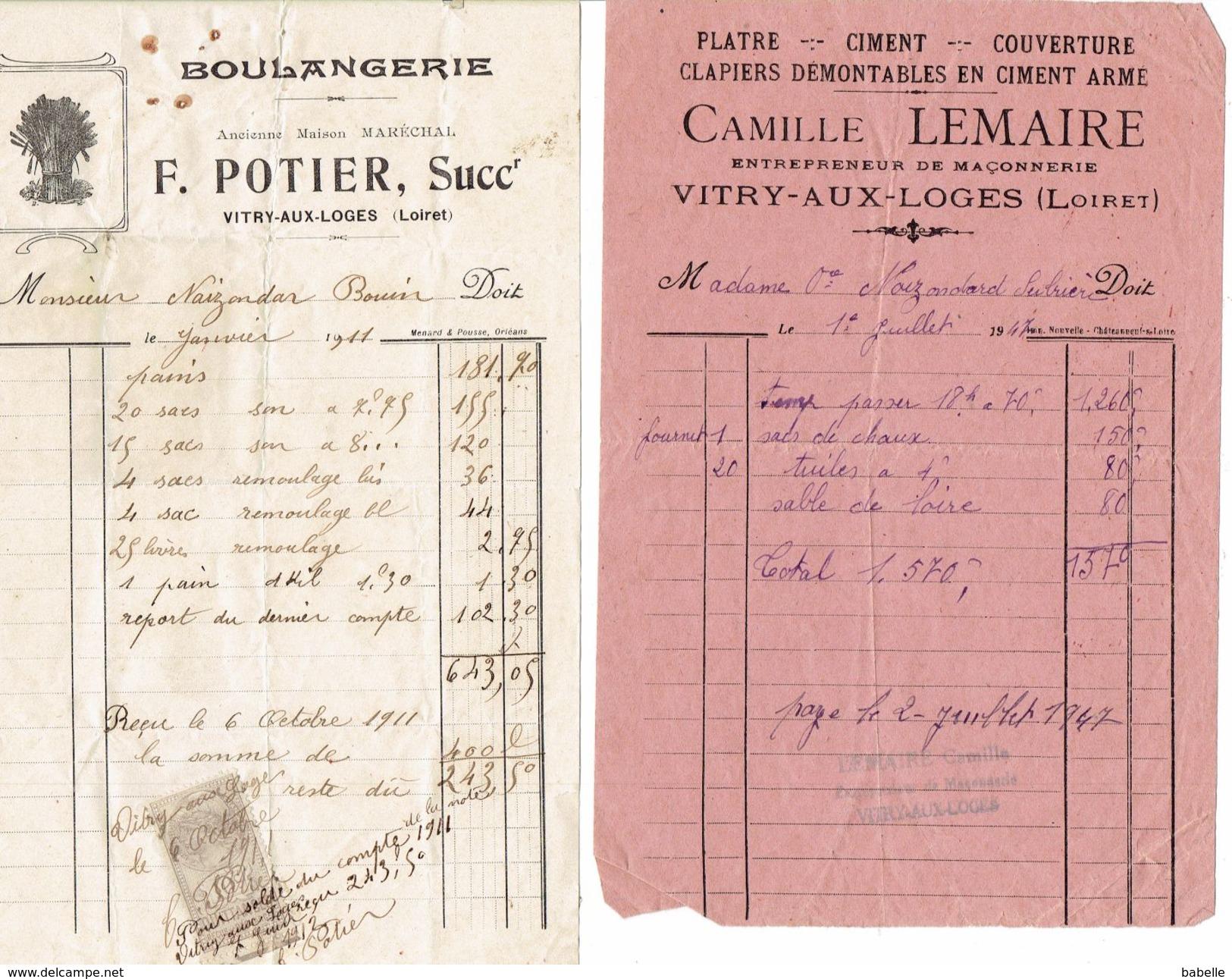 2 Factures De 1911 & 1947 - POTIER Boulanger Et LEMAIRE  Maçon - VITRY Aux LOGES - Petits Métiers