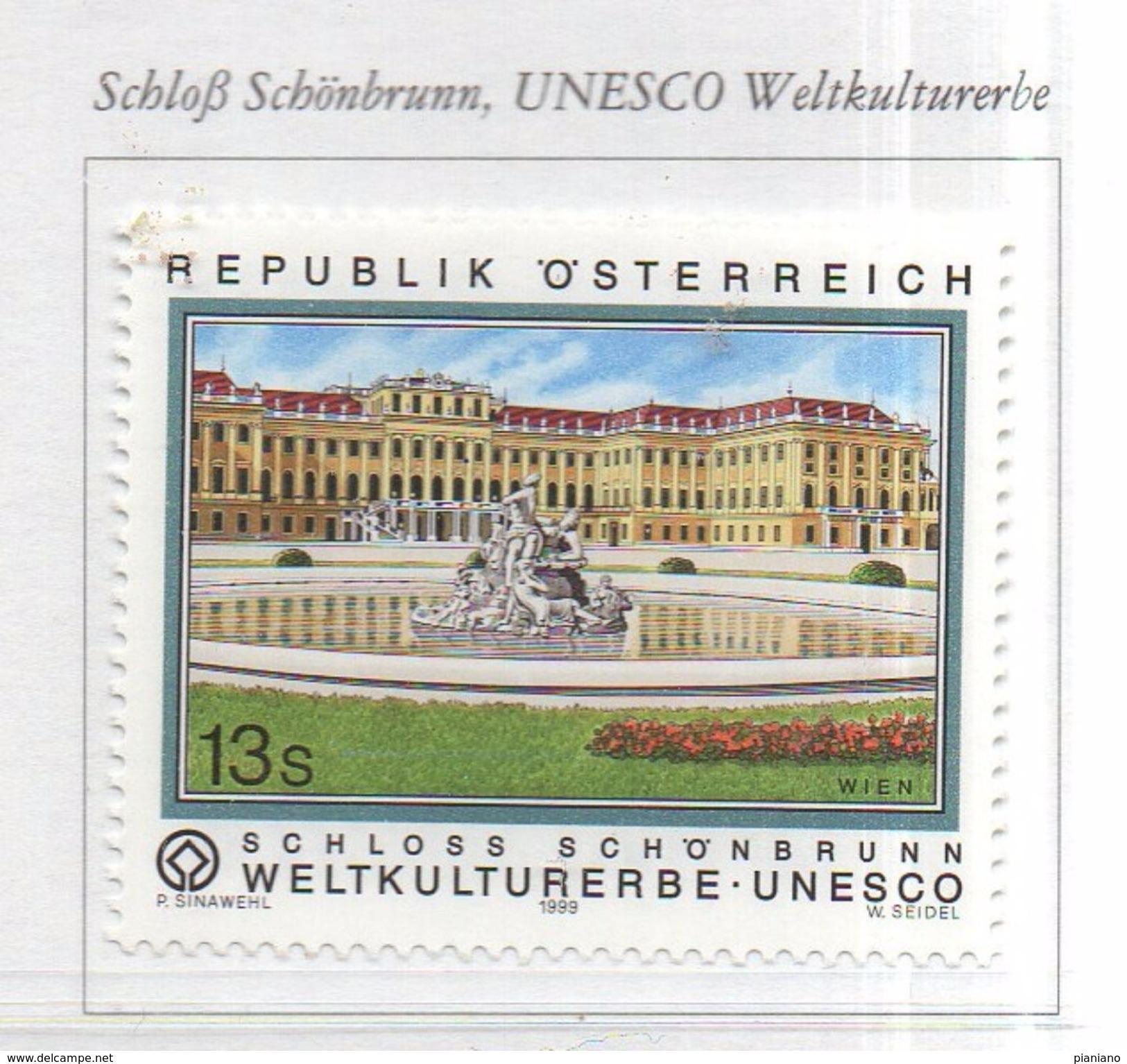PIA  -  AUSTRIA  -  1999 : Il Castello Di Schonbrunn - Patrimonio Mondiale Dell' Unesco -   (UN 2106) - 1945-.... 2ª República