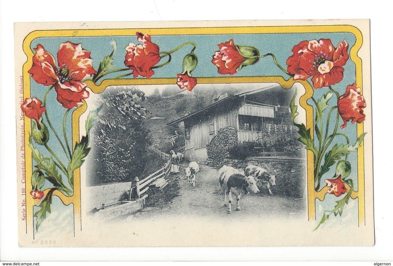 18432 - Vaches S'en Allant Du Chalet Sur Fond De Pavots - Vaches