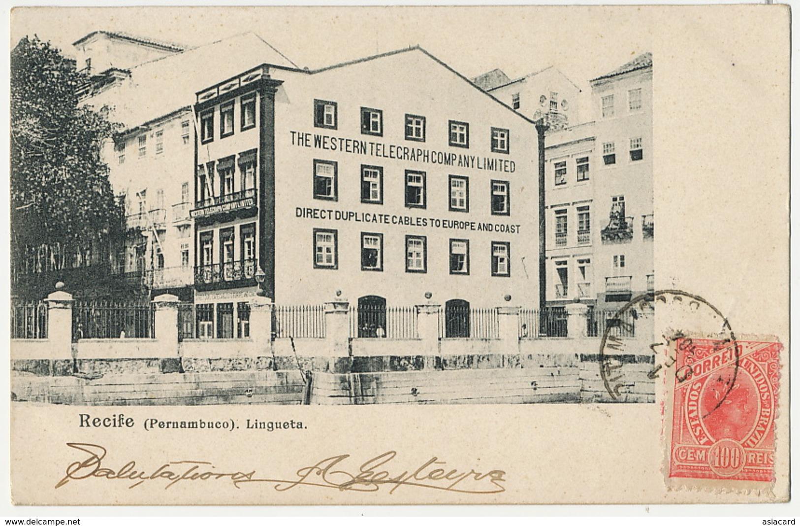 Recife Pernambuco Lingueta  The Western Telegraph Company  1904 - Recife