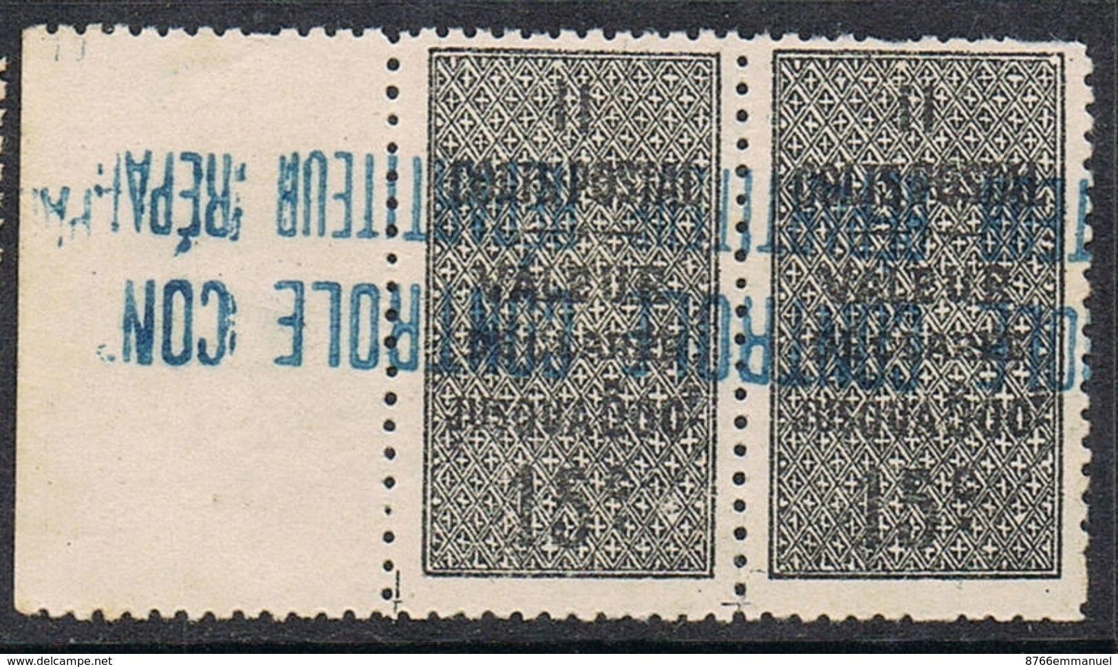 ALGERIE COLIS POSTAL N°8 N**  En Paire Variété Surcharge Bleue Renversée - Algérie (1924-1962)