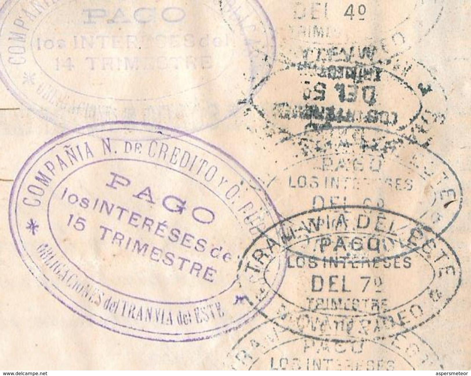TRAM-VIA DEL ESTE MONTEVIDEO URUGUAY AÑO 1885 OBLIGACION HIPOTECARIA TRAMWAY TRAMWAYS RARISIME TRAM TROLLEY - Transporte