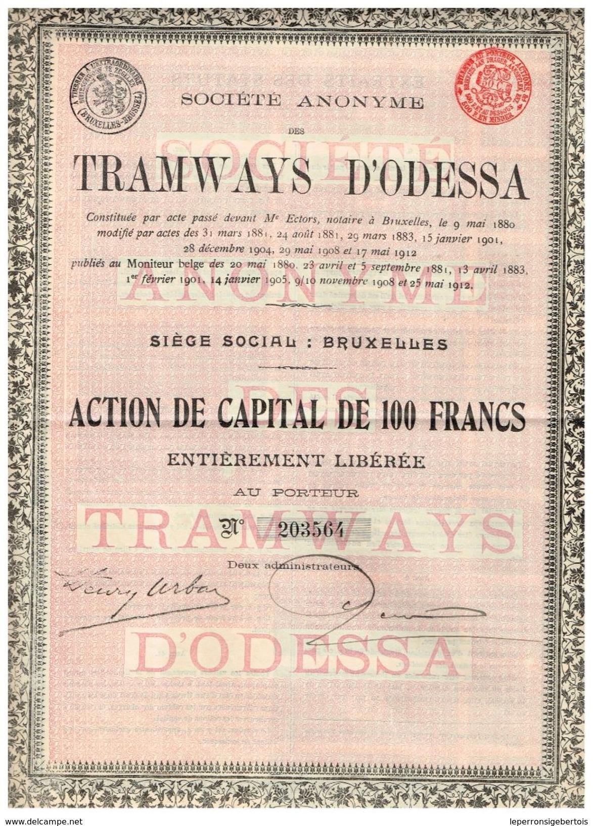 Action Ancienne - Société Anonyme De Tramways D' Odessa - Titre De 1912 - - Chemin De Fer & Tramway