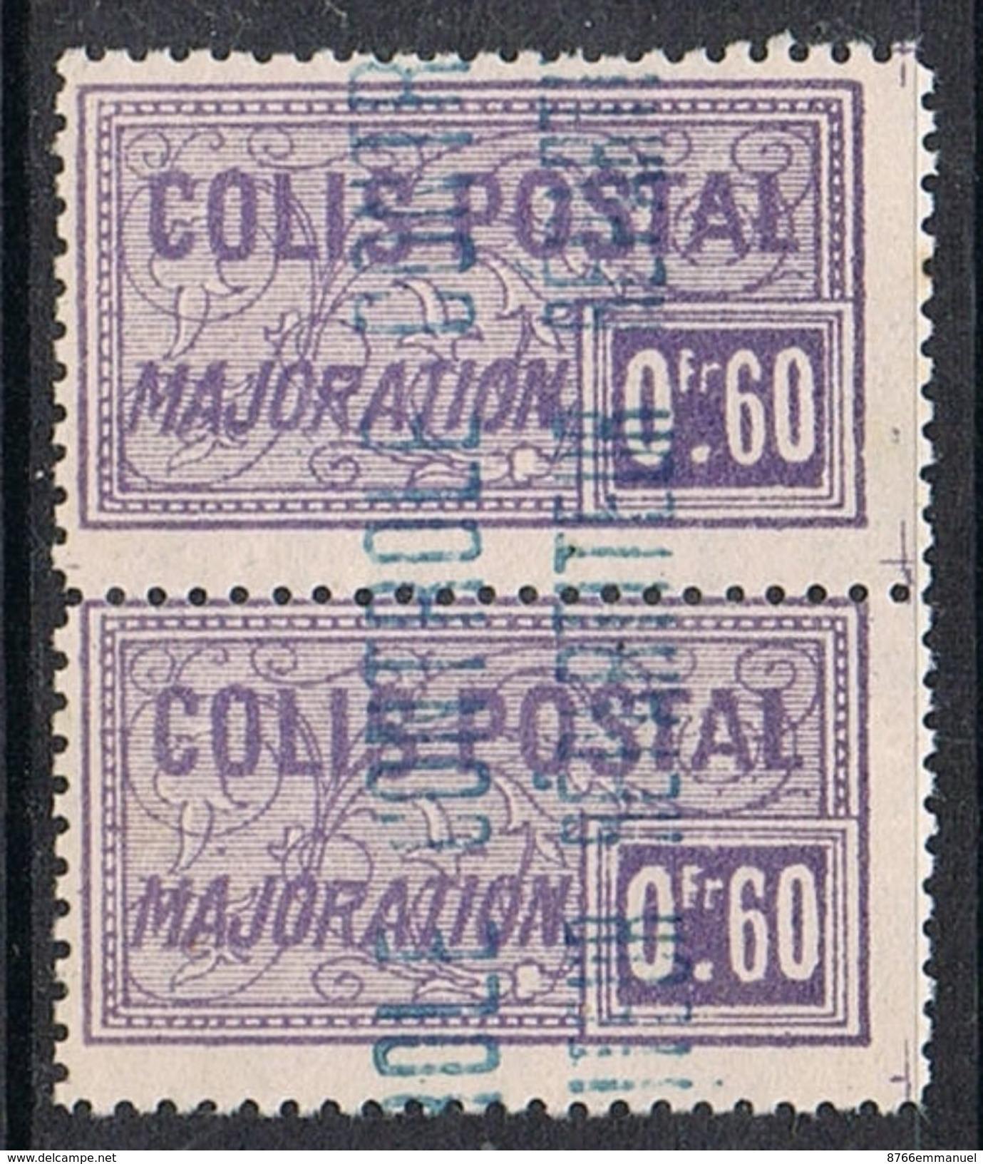 ALGERIE COLIS POSTAL N°13 N** En Paire Variété Surcharge Bleue - Algérie (1924-1962)
