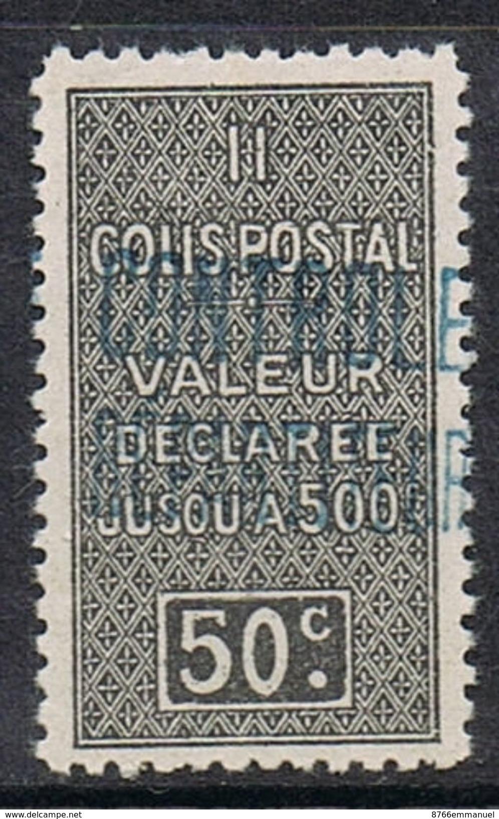 ALGERIE COLIS POSTAL N°16 N*  Variété Surcharge Bleue - Algérie (1924-1962)