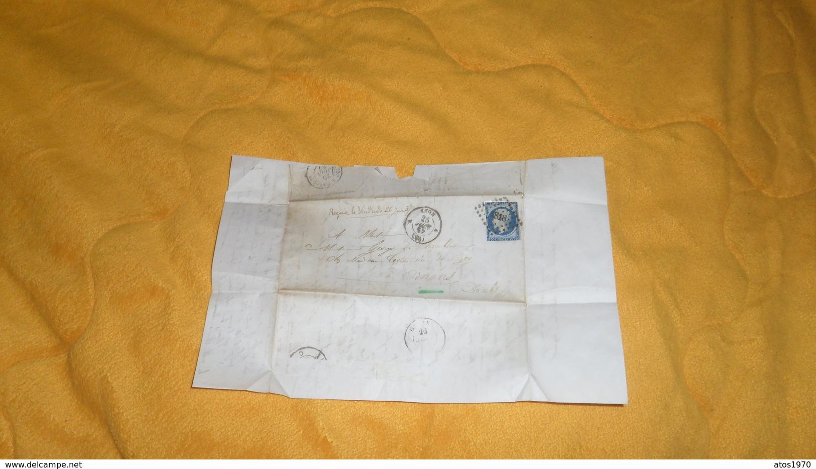 LETTRE ANCIENNE DE 1857. / VILLE DE LYON ECOLE LA MARTINIERE. / LYON A ORNANS . / CACHETS + PC 1818 + TIMBRE - 1849-1876: Période Classique