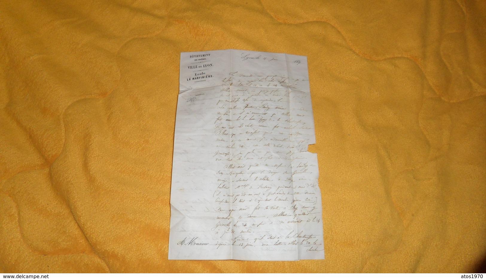 LETTRE ANCIENNE DE 1857. / VILLE DE LYON ECOLE LA MARTINIERE. / LYON A ORNANS . / CACHETS + PC 1818 + TIMBRE - Marcophilie (Lettres)