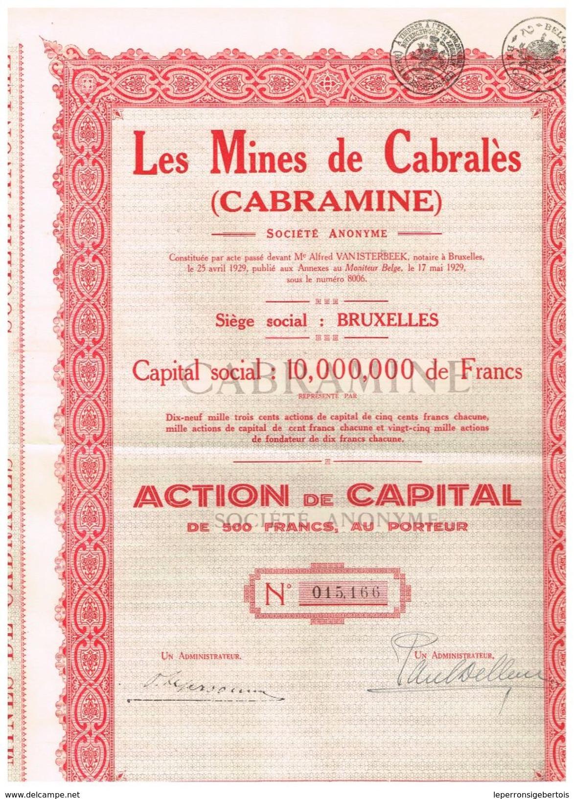 """Action Ancienne - Les Mines De Cabralès """"Cabramine"""" - Titre De 1929 - Mines"""