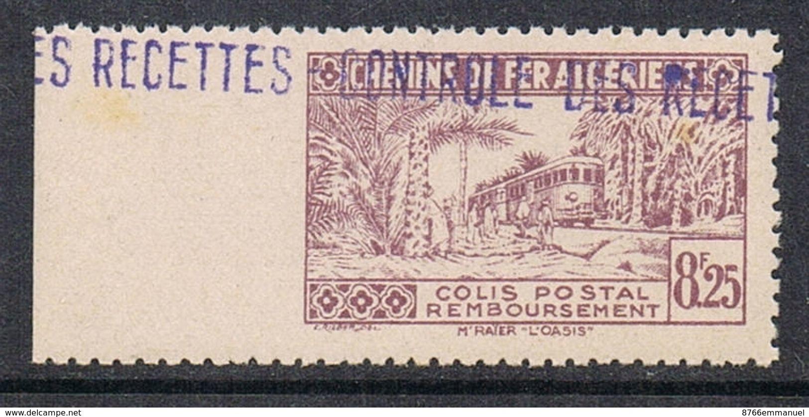 ALGERIE COLIS POSTAL N°92 N**  Variété Dentelé Sur 3 Côtés - Algérie (1924-1962)