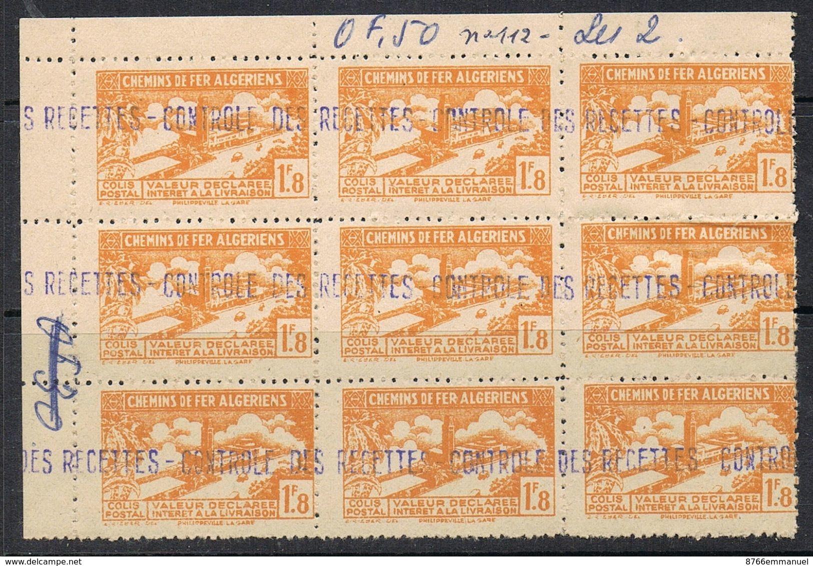 ALGERIE COLIS POSTAL N°112 N** En Bloc De 9 - Algérie (1924-1962)