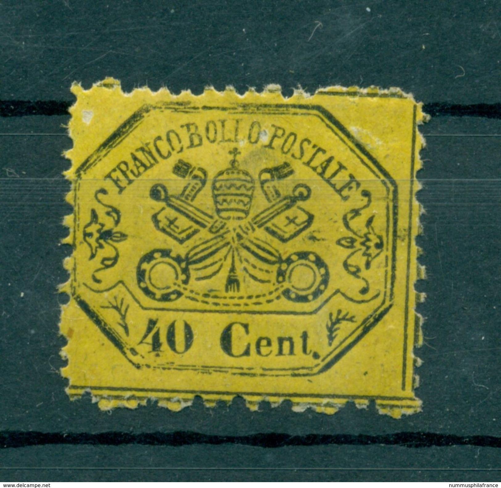 Etats Pontificaux 1868 - Y & T. N. 24 - Armoiries 40 Centimes (ii) - Etats Pontificaux