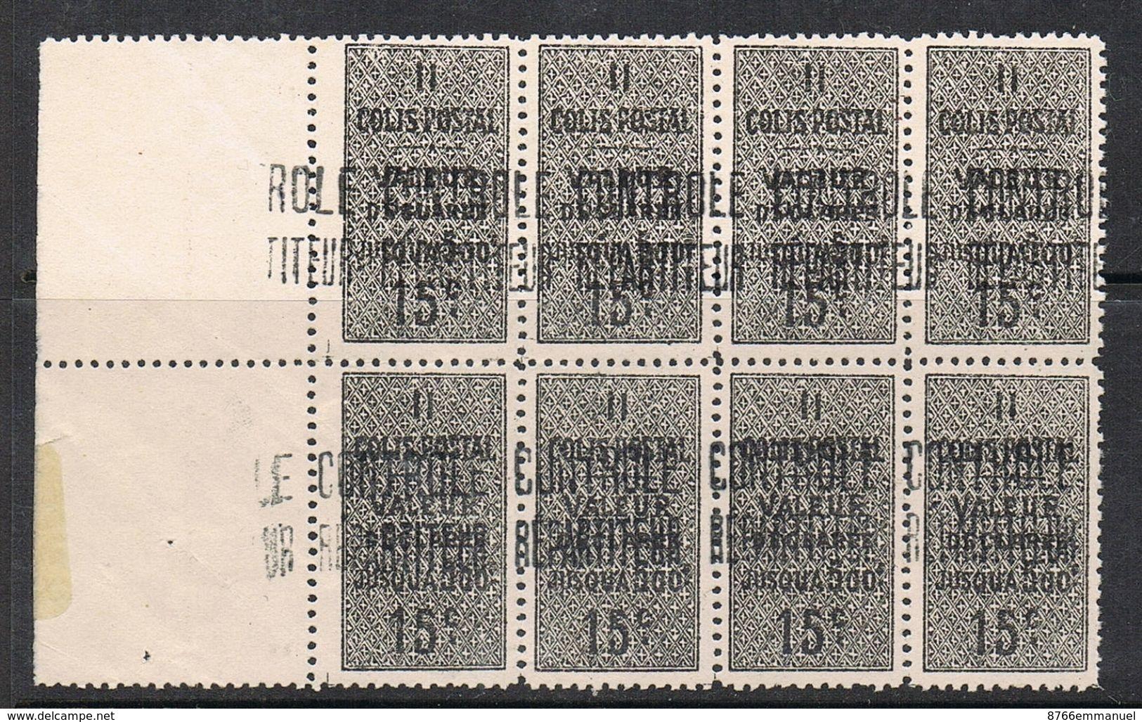 ALGERIE COLIS POSTAL N°8 N**  En Bloc De 8 Timbres - Algérie (1924-1962)