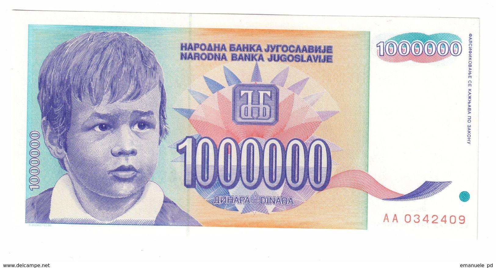 YUGOSLAVIA UNC 1000000 Dinara 1993 Pick 120 - Yugoslavia