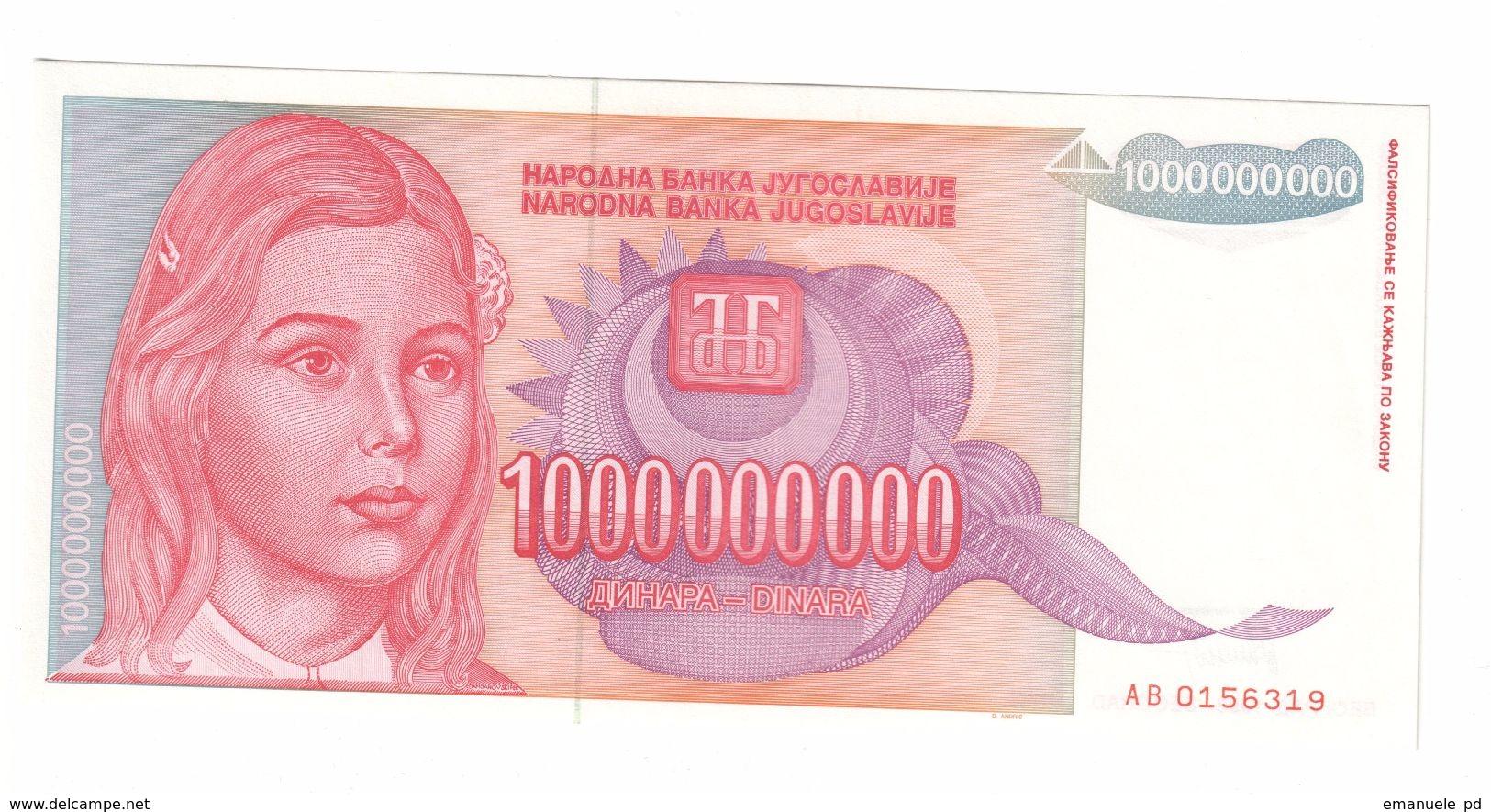 YUGOSLAVIA UNC 1000000000 Dinara 1993 Pick 126 - Yugoslavia