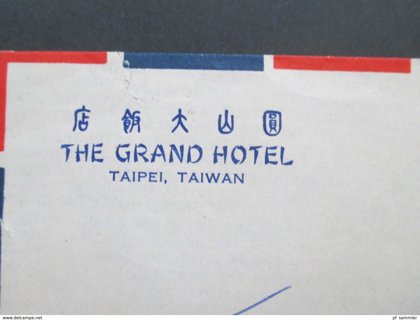 China / Taiwan 1968?! Hotelumschlag. The Grand Hotel Taipei, Taiwan. Air Mail / Luftpost Nach Kronenberg - 1945-... Republik China
