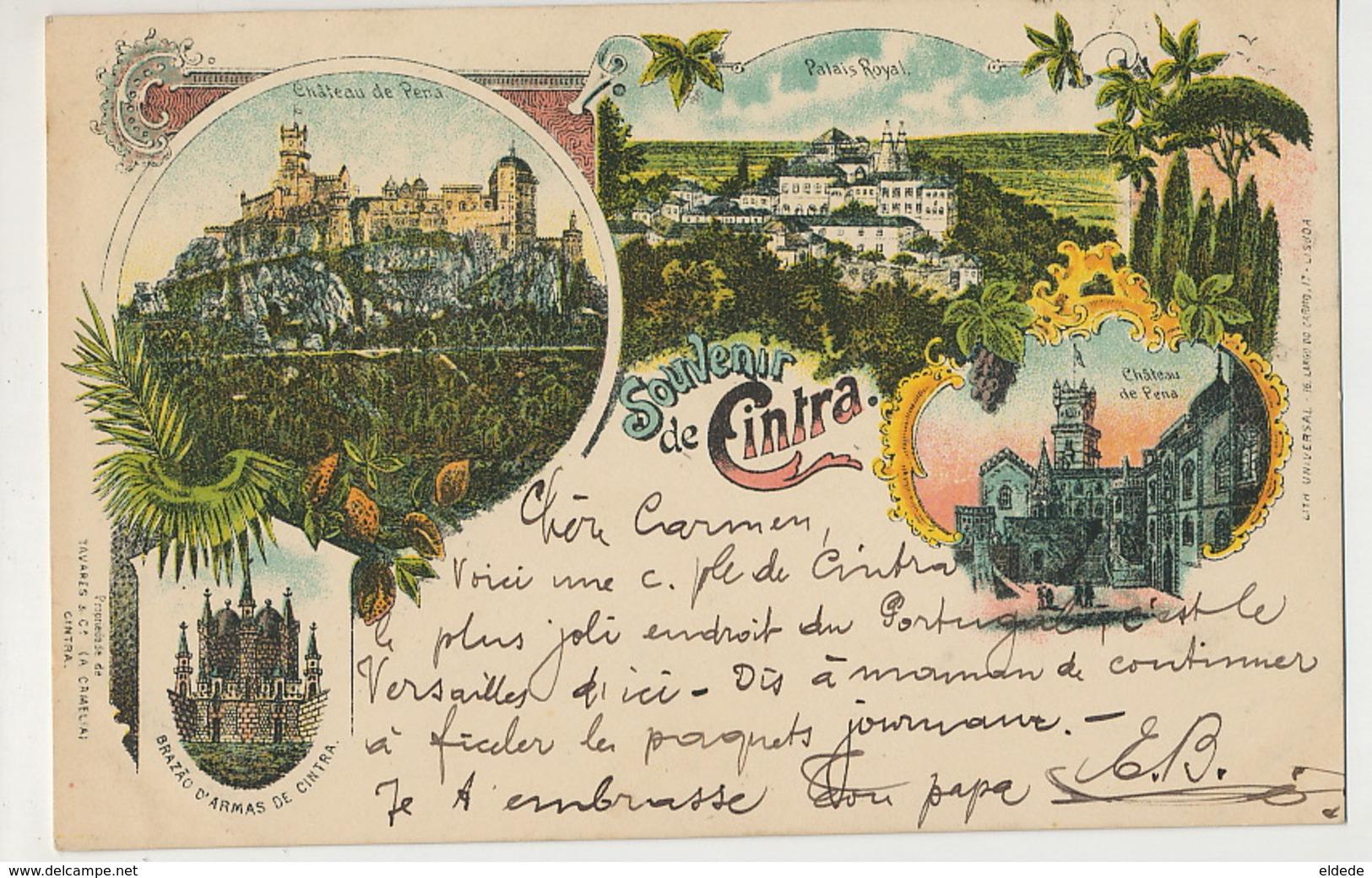Souvenir De Cintra Litho Universal Color Lisboa  P. Used 1902 To Villejuif - Autres