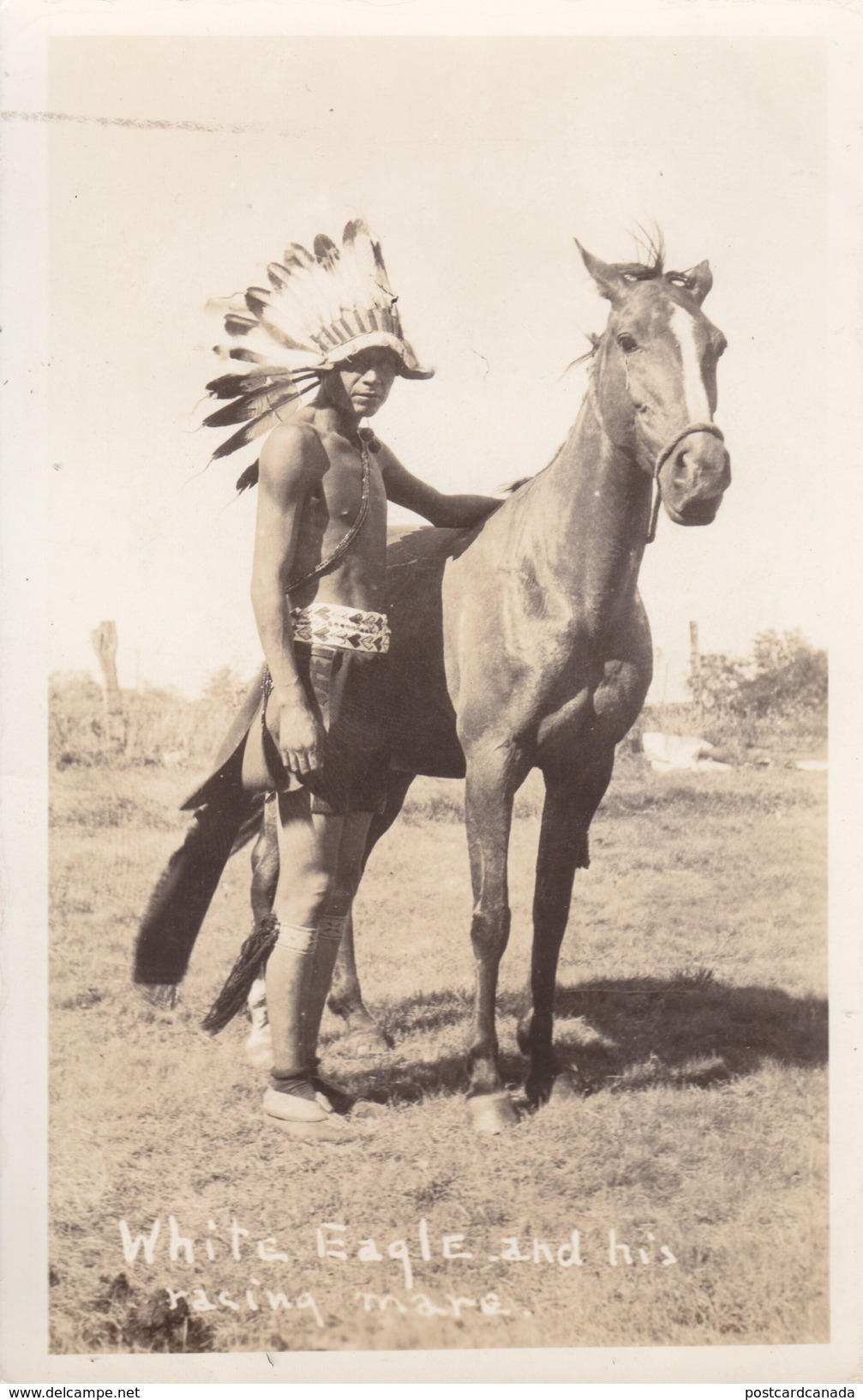 RPPC REAL PHOTO POSTCARD WHITE EAGLE AND HIS RACING HORSE - Native Americans