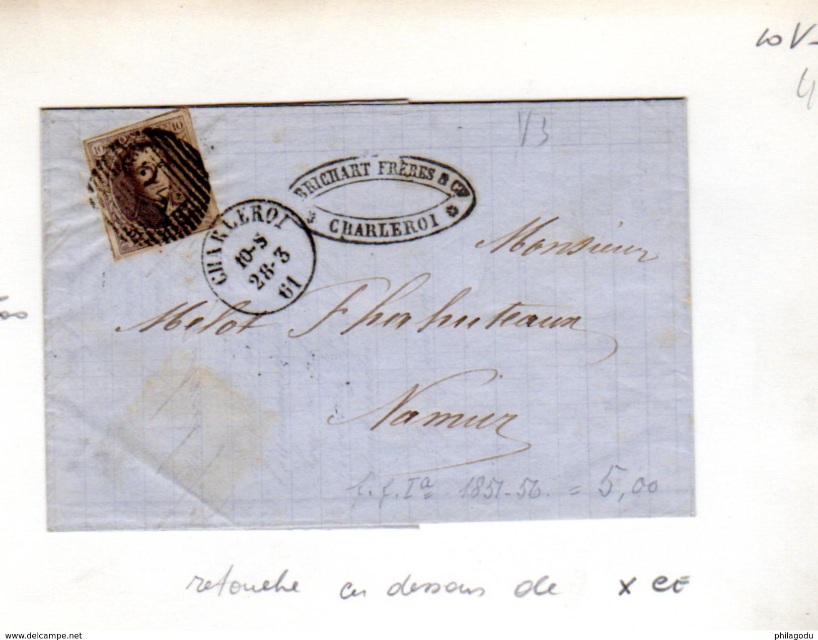 1861  10c Médaillon, 10.V3 Sur Lettre  Pour Connaisseur - 1858-1862 Médaillons (9/12)