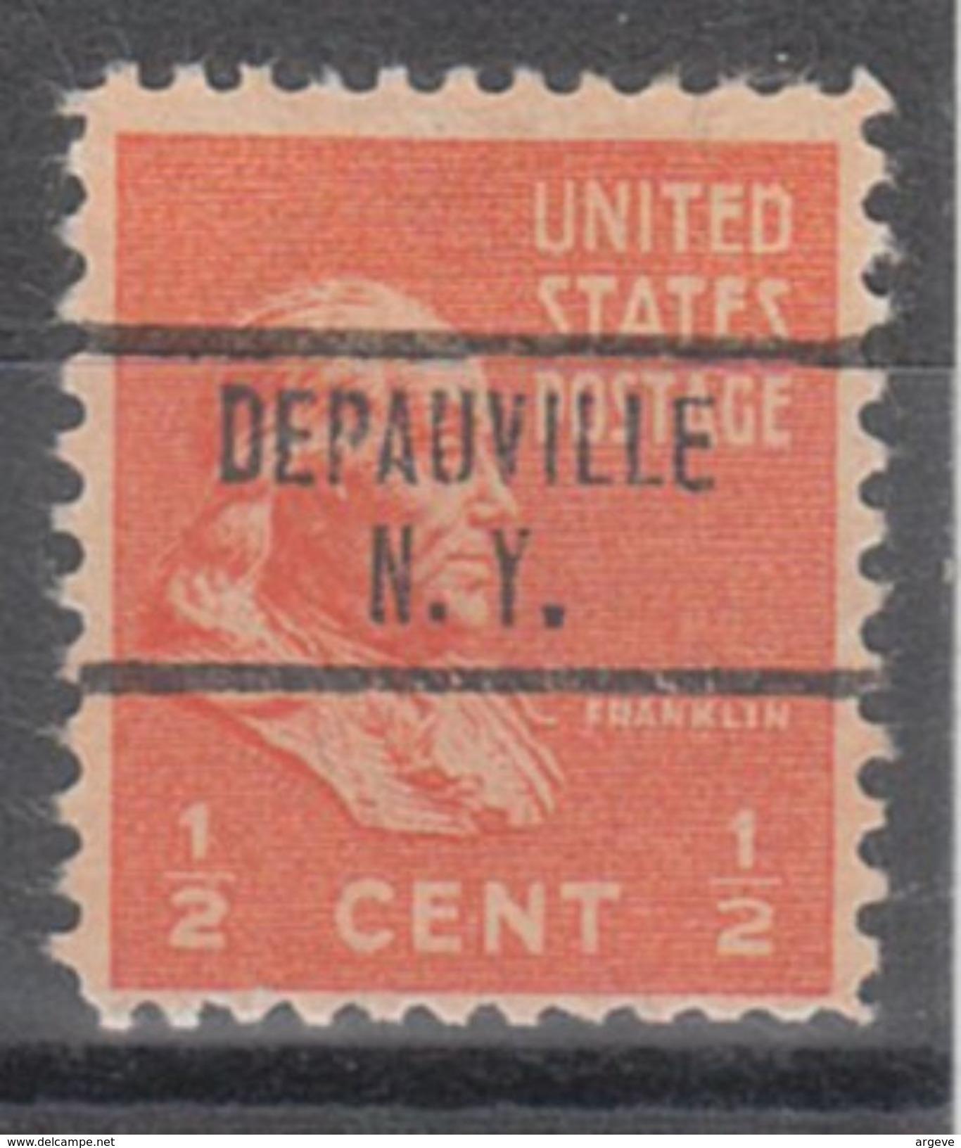 USA Precancel Vorausentwertungen Preo, Locals New York, Depauville 734 - Vereinigte Staaten