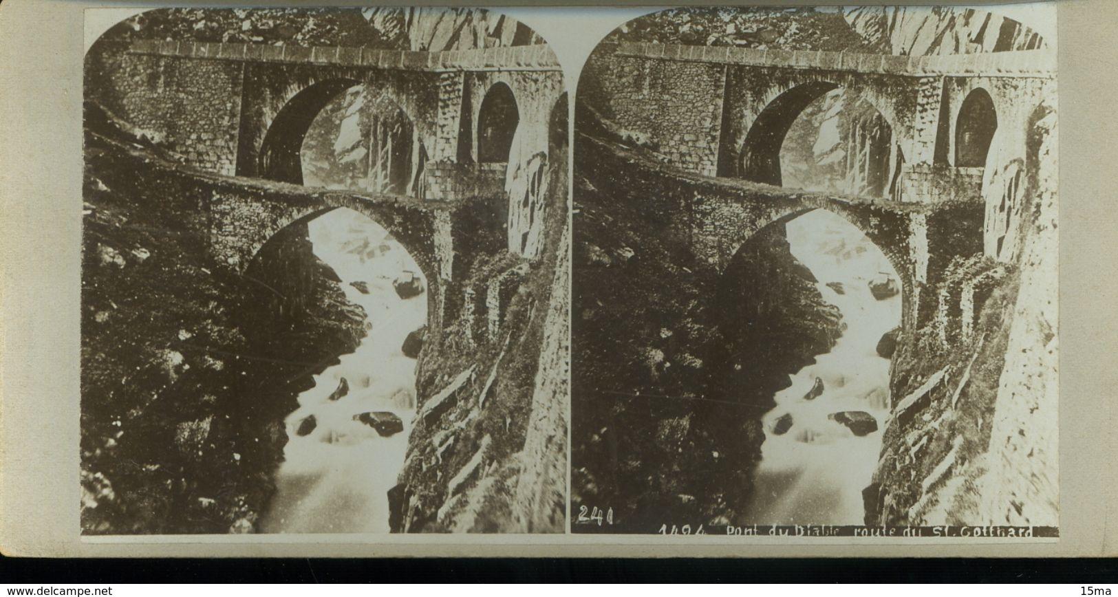 Suisse Pont Du Diable Route Du St Gothard Tempelsbruck Photographie Stéréoscopique Photo Stéréo XIXe Collée Sur Carton - Stereoscopic