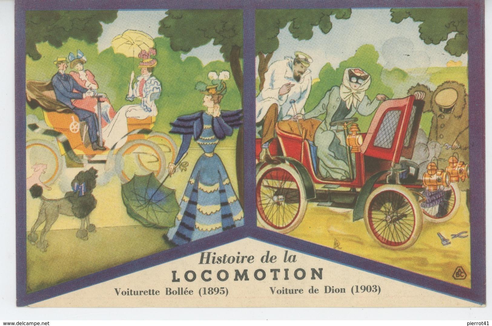PUBLICITE - HISTOIRE DE LA LOCOMOTION - LES ANCETRES DE L'AUTOMOBILE - Edition Des PRODUITS Du LION NOIR - Publicité
