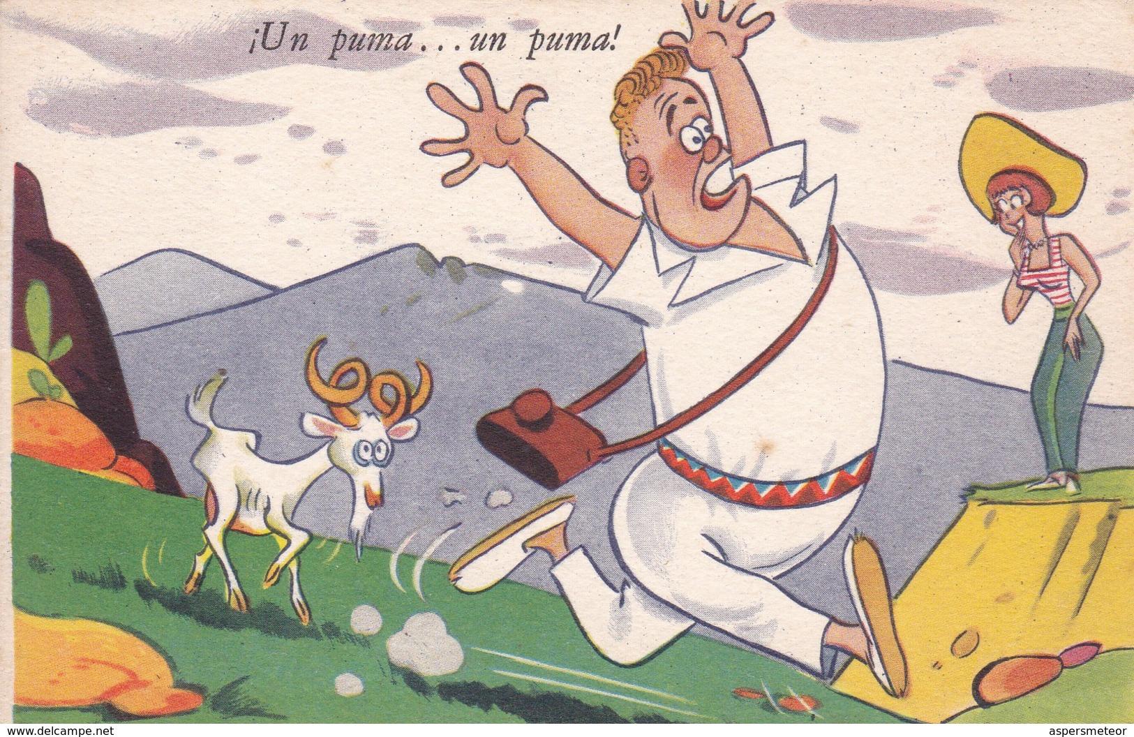 ARGENTINE.¡UN PUMA... UN PUMA!. ILLUSTRATION BY BENZ. ED BLOTTA Y FERRO. CIRCA 1940s. TBE-BLEUP - Humour