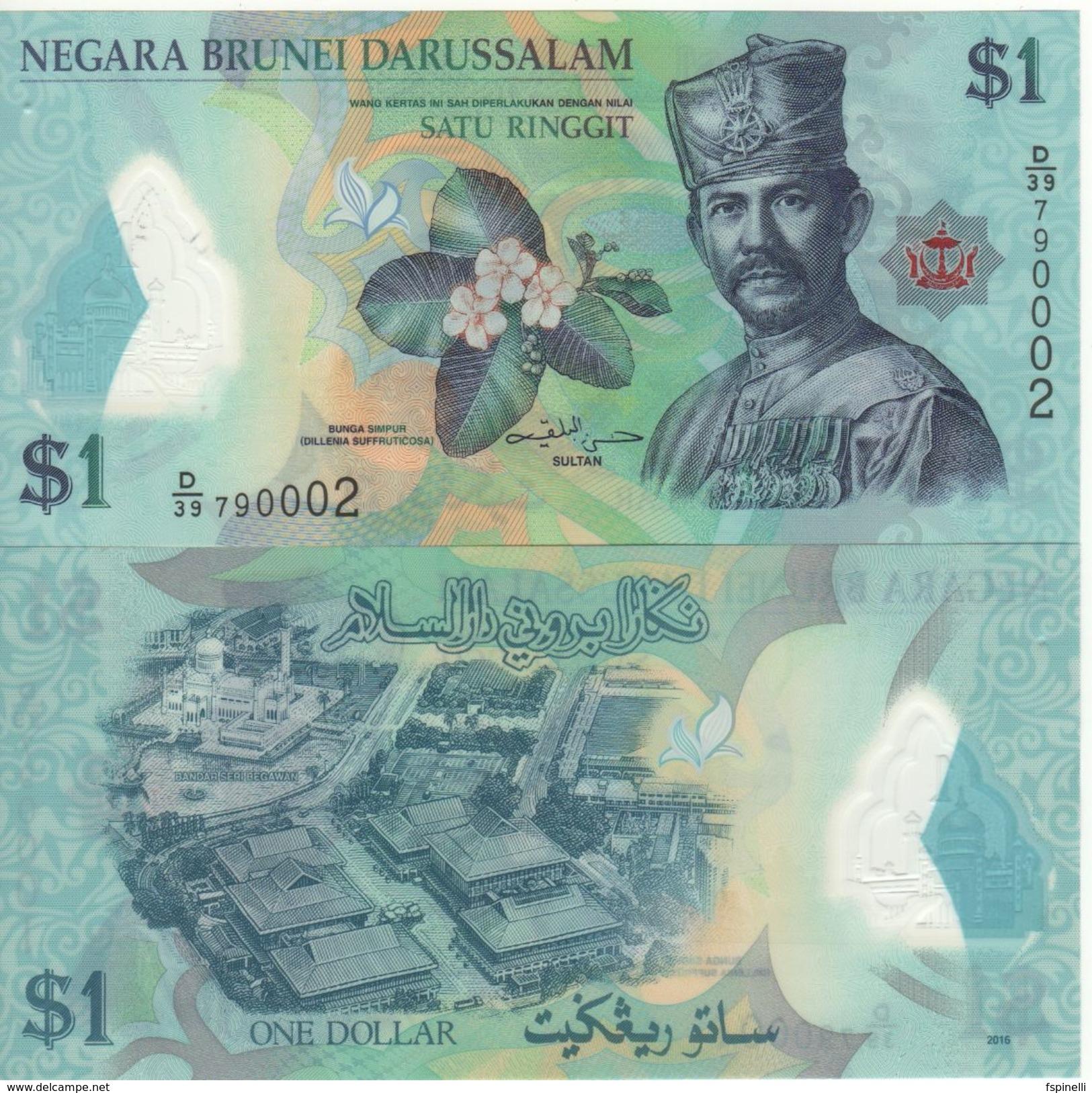 BRUNEI    New Date   1 Ringgit    Polimer  Dated  2016    Pnew   UNC - Brunei