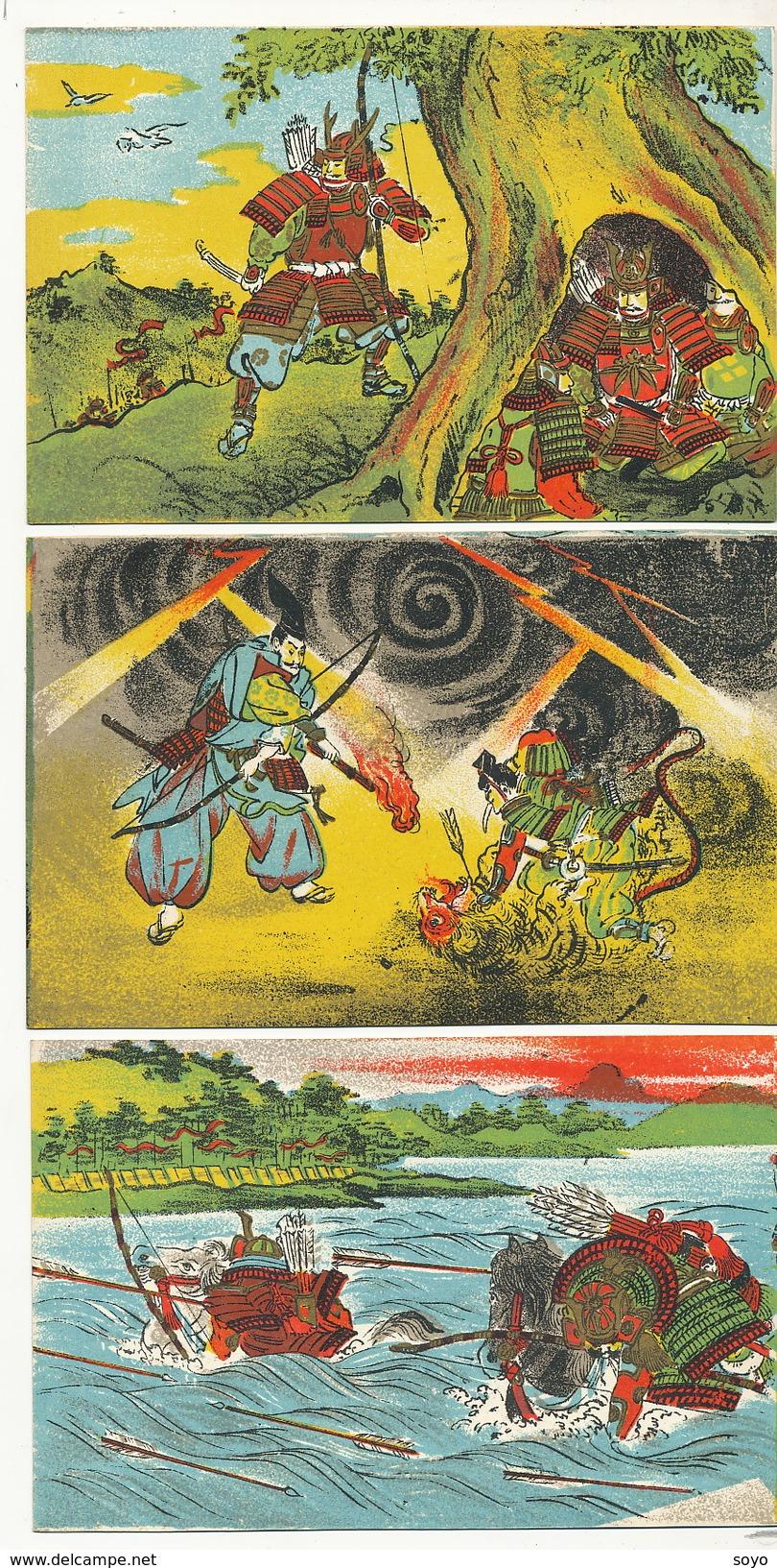 Set Of 3 Japanese Cards Archery Hunting Arc - Tir à L'Arc