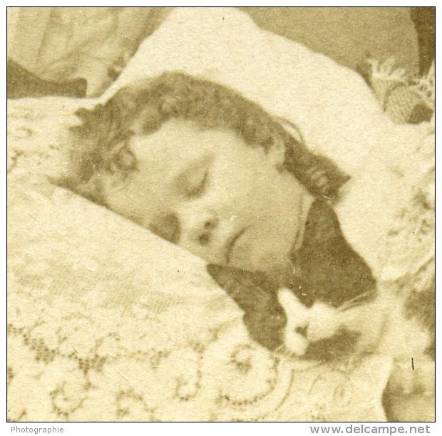 USA Enfant Endormi Lit A Baldaquin Reves Ancienne Photo Stereo Littleton View 1889 - Stereoscopic