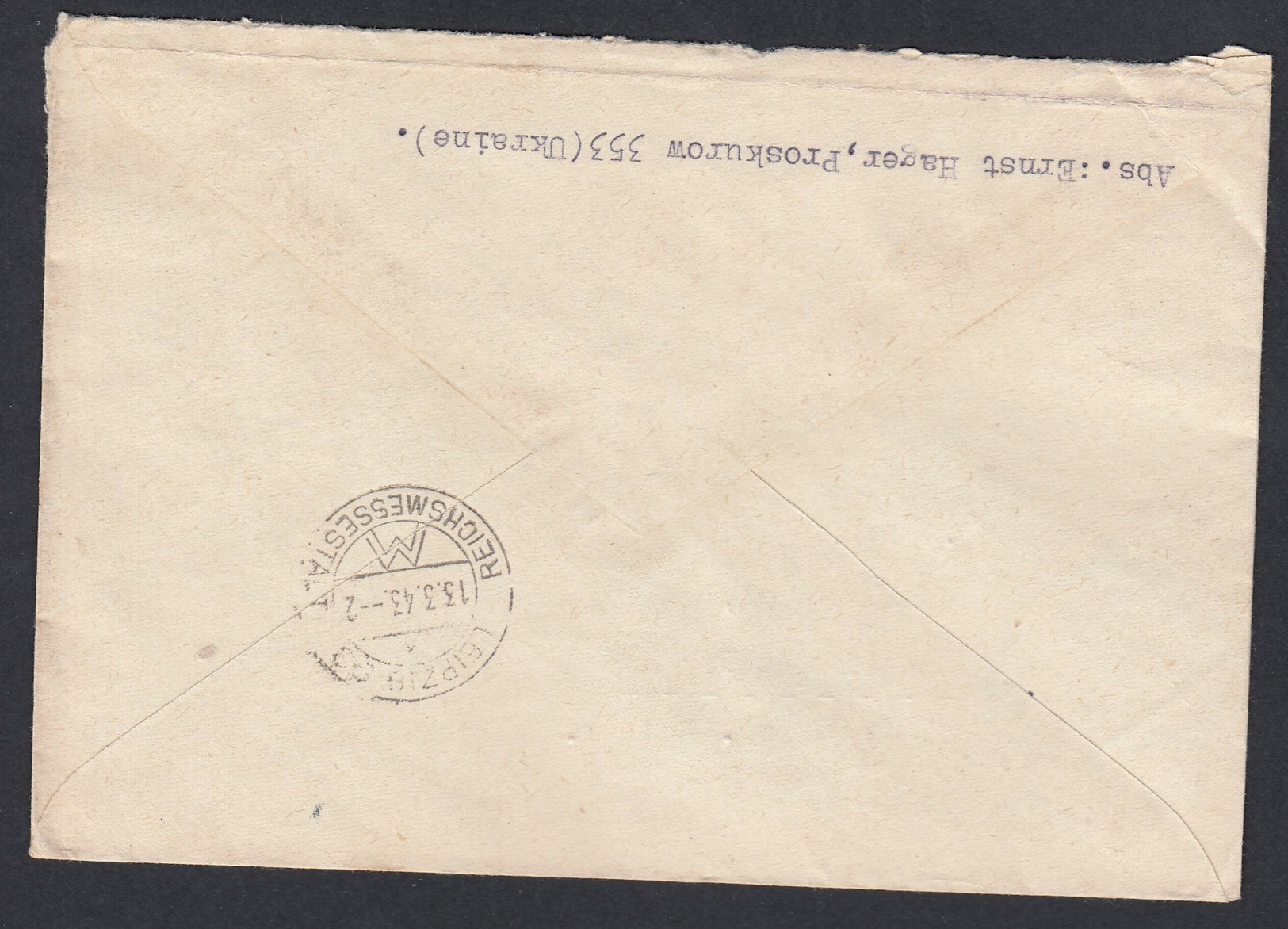 DR Deutsche Dienstpost Ukraine 1943 Proskurow Nach Leipzig K80 - Dienstpost
