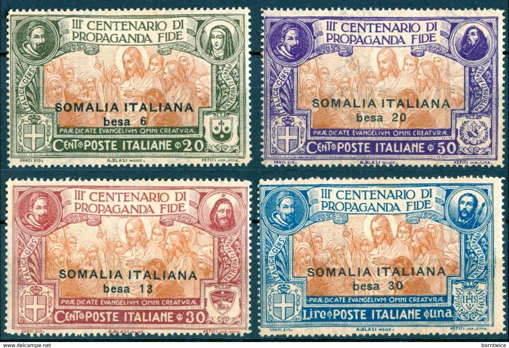 D19 - SOMALIA 1923  Propaganda Of Faith Stamps Of Italy Surch Set (4v), VF MLH, MiNr 47-50, SG 44-7, Sas 45-8 - Eritrea
