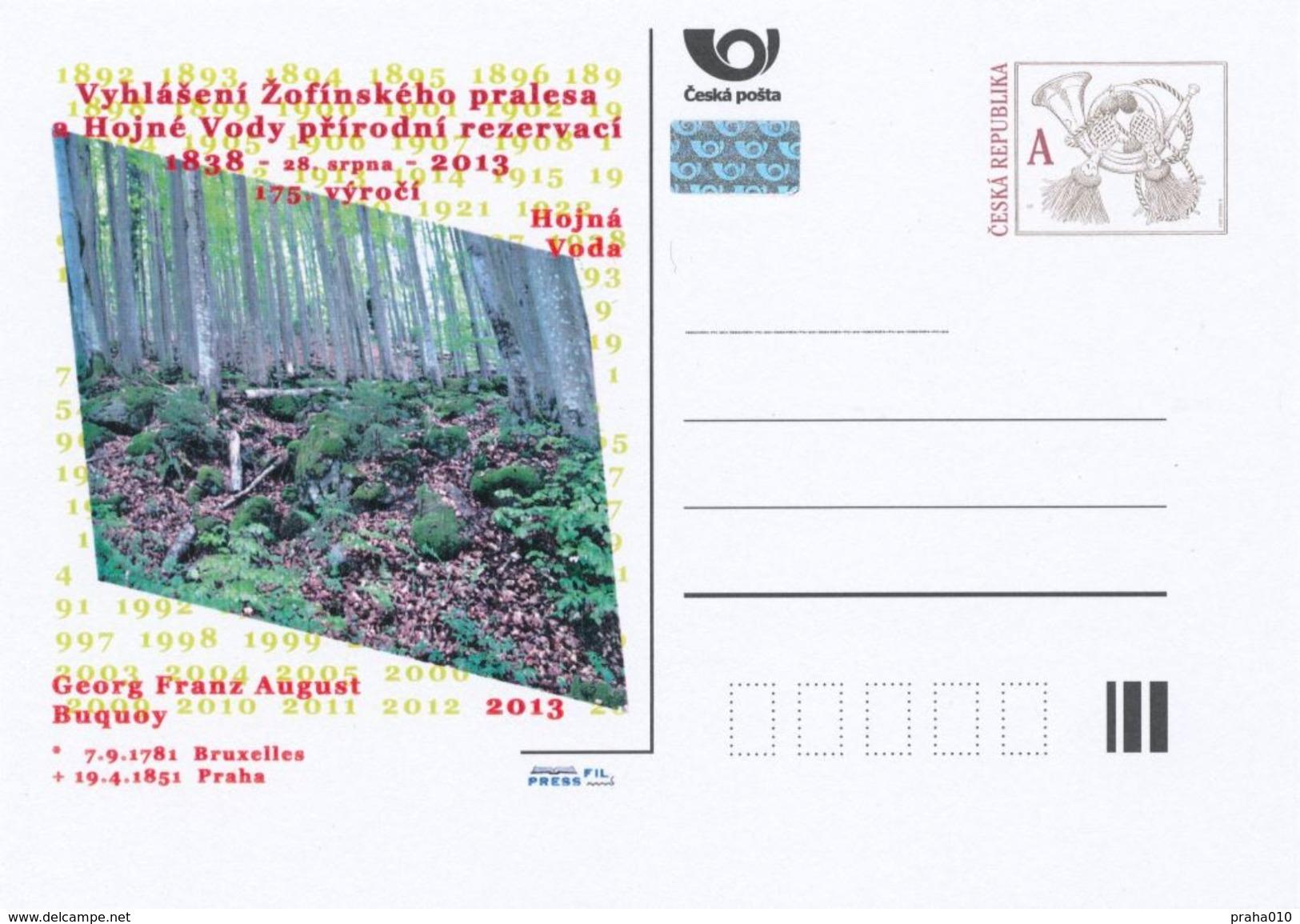 "Tschech. Rep. / Ganzsachen (Pre2013/36) Bekanntmachung ""Hojna Voda (Heilbrunn)"" Naturschutzgebiet 1838-2013, 175 Jahre - Umweltschutz Und Klima"