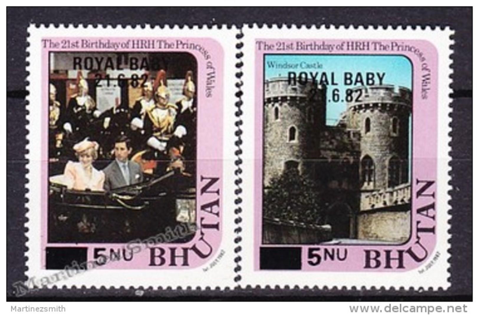 Bhutan - Bhoutan 1982 Yvert 589- 90, 21th Birthday Of HRH The Princess Of Wales - Royal Baby Overprint - MNH - Bhoutan