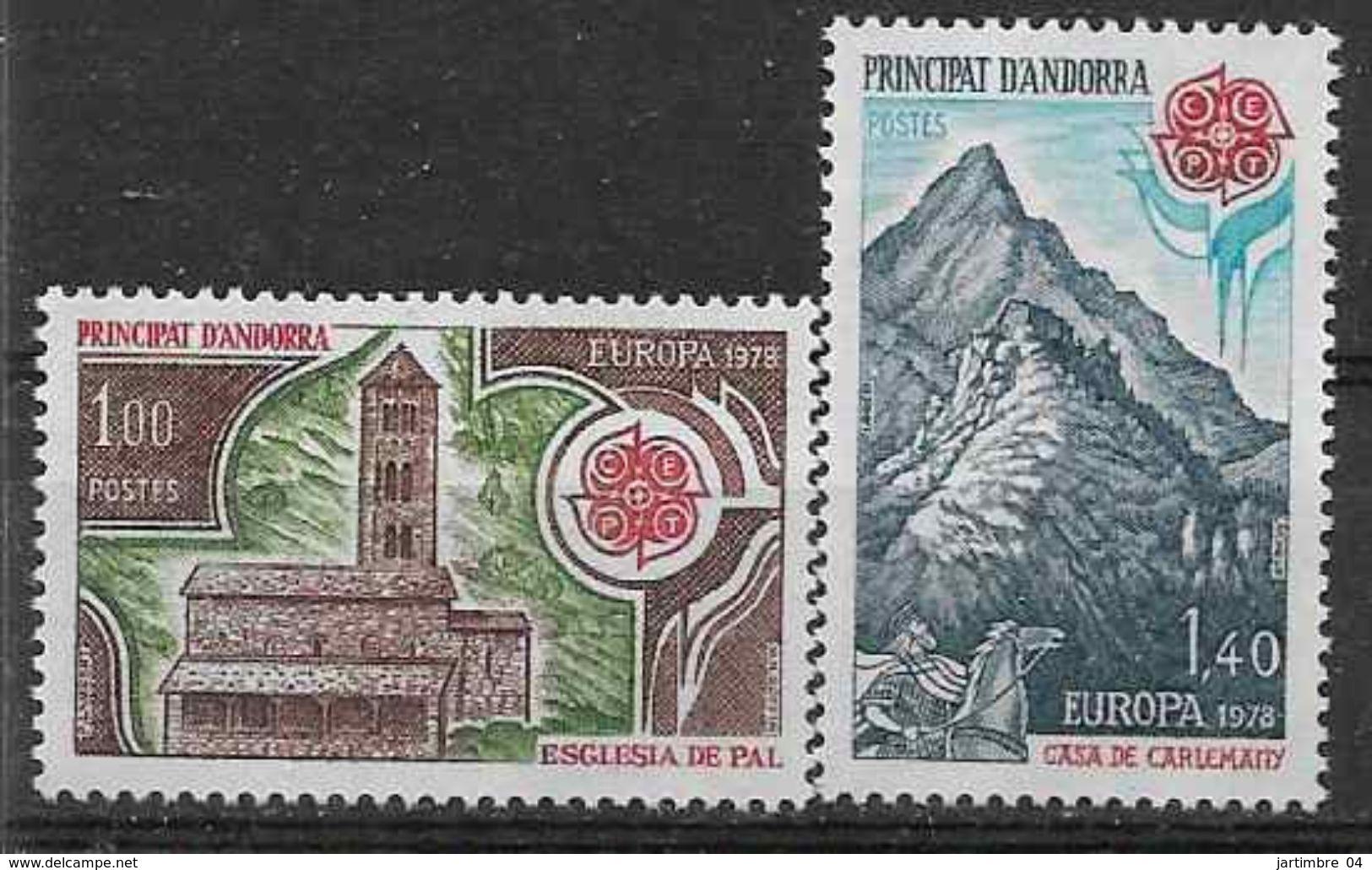 1978 ANDORRE Français 269-70 ** Europa , église, Maison De Charlemagne, Cheval - French Andorra