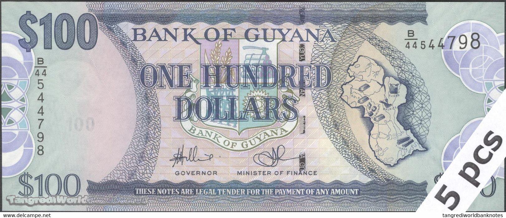 TWN - GUYANA 36b2 - 100 Dollars 2012 DEALERS LOT X 5 - Prefix B/44 - Signatures: Williams & A. Singh UNC - Guyana