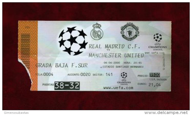 Real Madrid - Manchester United (Ticket) Año 2000 - Tickets - Entradas