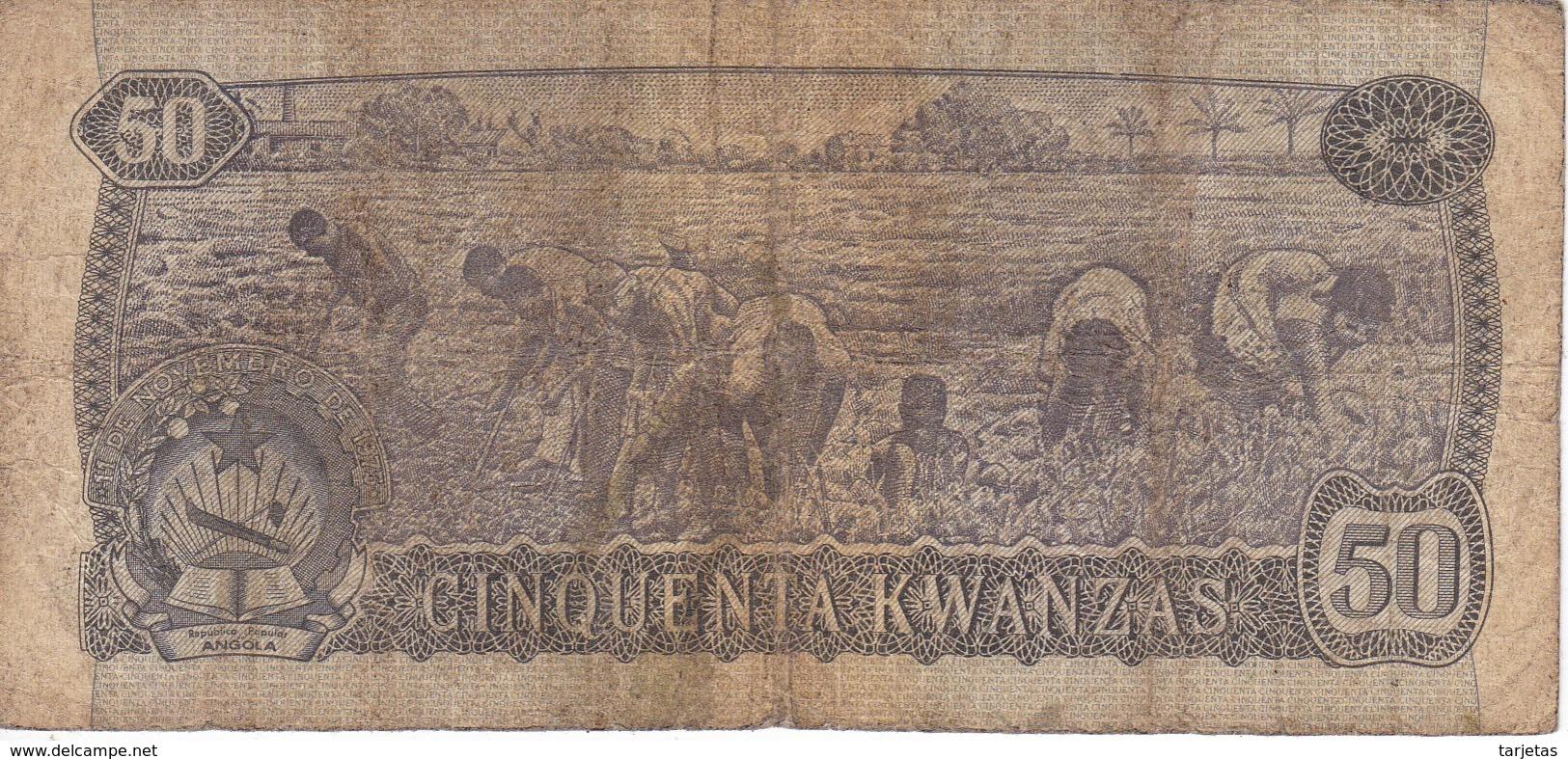 BILLETE DE ANGOLA DE 50 KWANZAS DEL AÑO 1976 (BANKNOTE) - Angola