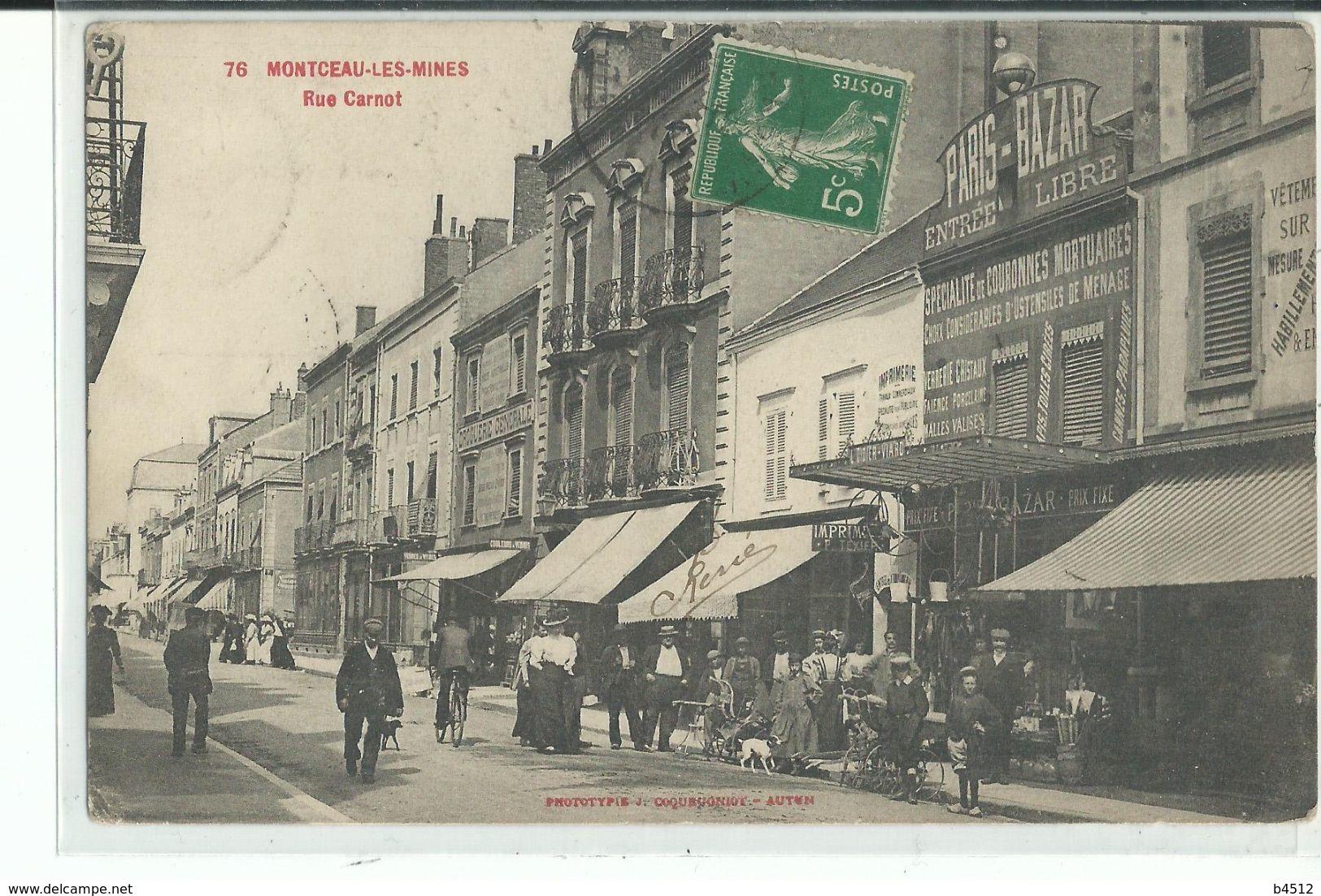 71 MONTCEAU Les MINES Rue Carnot ,façade Bazar , Spécialitée Couronne Mortuaire - Montceau Les Mines