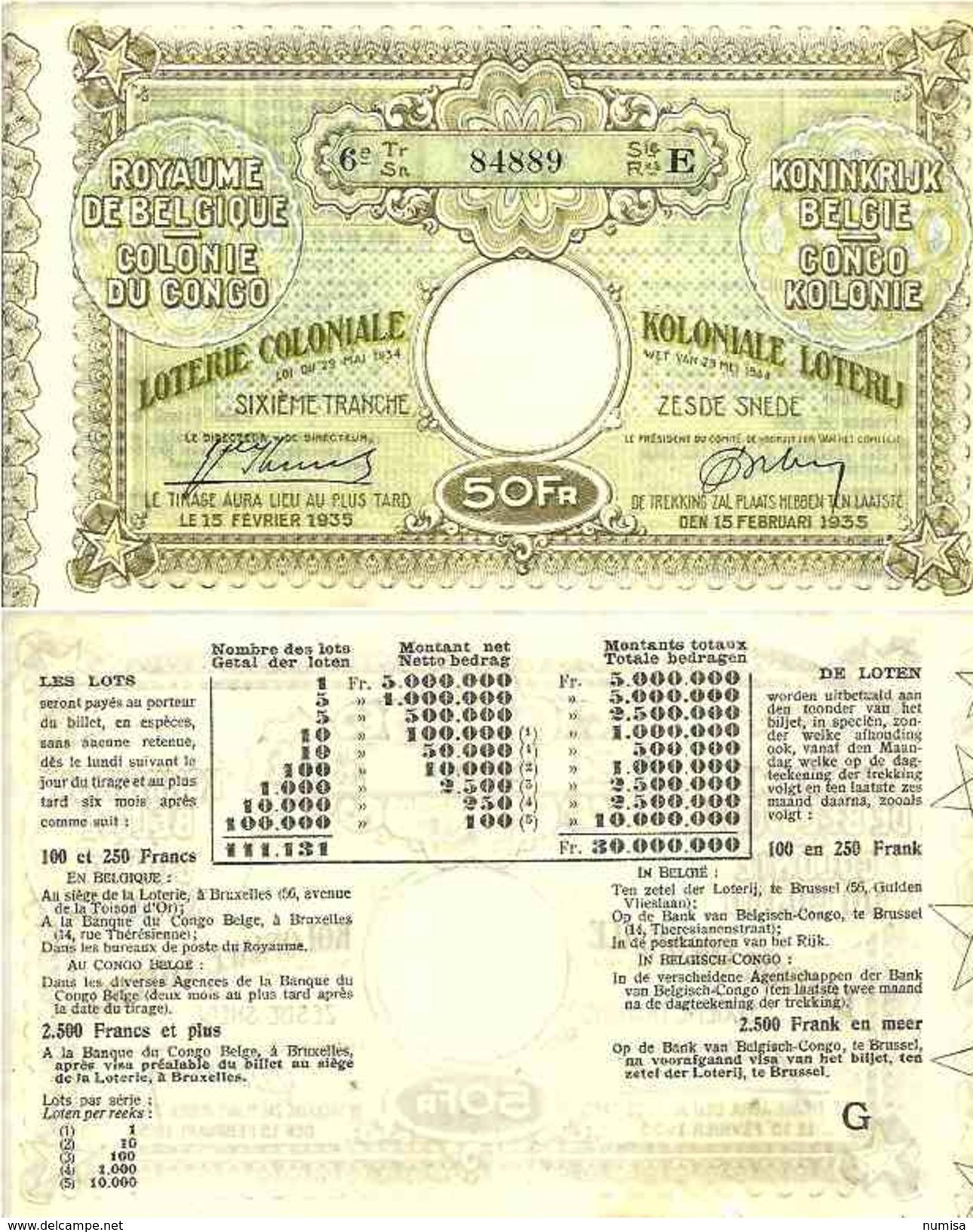 Congo Belge ( Belgian ) Loterie Coloniale 50 FRANCS 1934 SUP+ - Zonder Classificatie