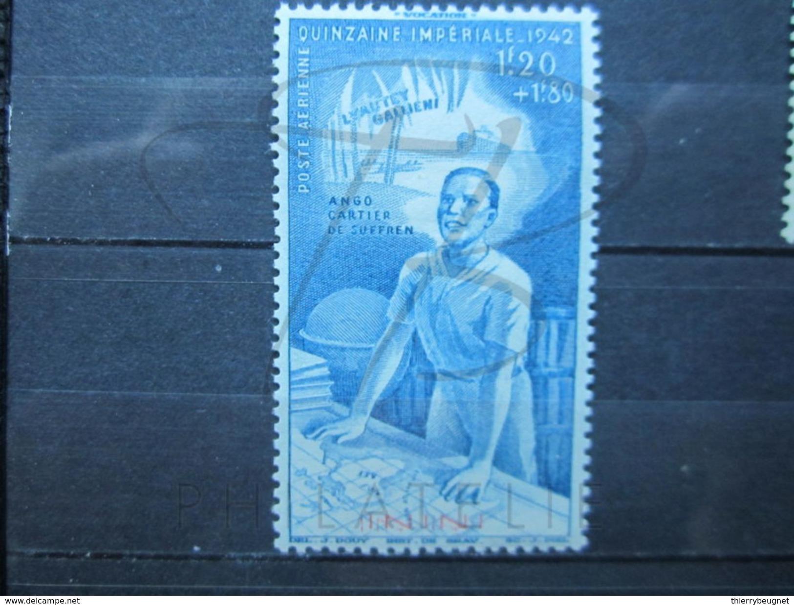 VEND BEAU TIMBRE DE POSTE AERIENNE D ' ININI N° 3 , DOUBLE SURCHARGE , X !!! - Inini (1932-1947)