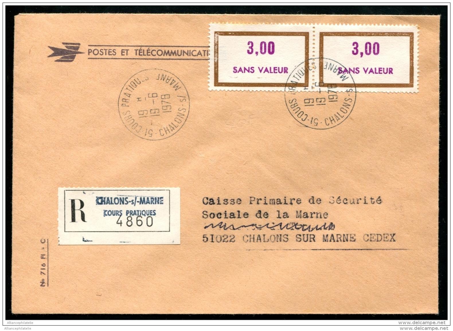 """Lot N°9040 FRANCE - Fictifs N°F203 X 2 Obl En Rec. Des Cours Pratiques De """"""""CHALONS SUR MARNE 19/6/78"""""""" Sur Pli En Local - Fictie"""
