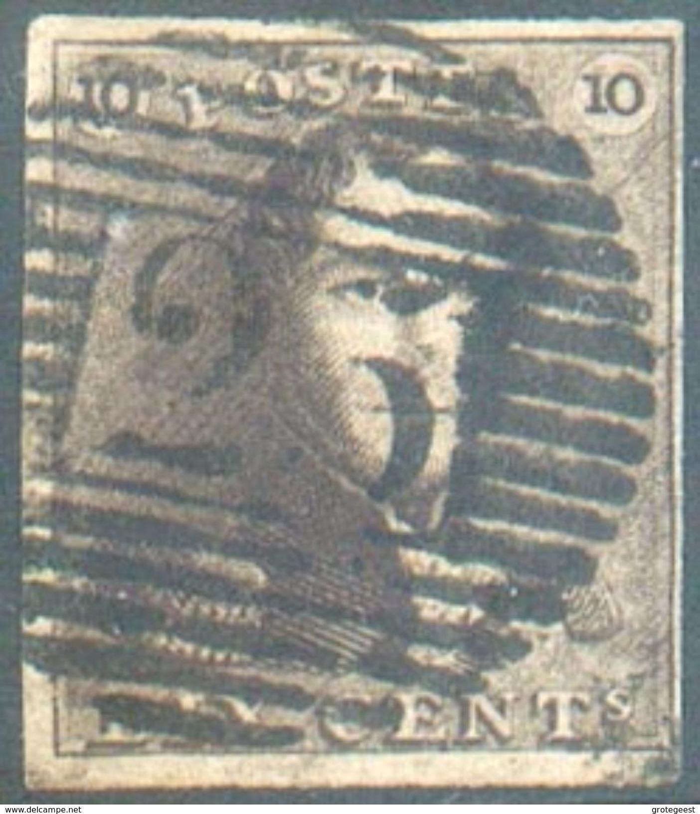 N°1 - Epaulette 10 Centimes Brune, TB Margée, Obl. P.25 CHARLEROI.  TB  - 12307A  VL1099 - 1849 Epaulettes